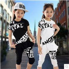 Hip-Hop Style 2017 Summer Girls Fashion Short-Sleeve Dancing Clothing Set Kid Tees Harem Pant Twinset Children Sport Clothes G19