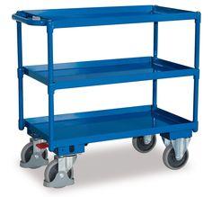GTARDO.DE:  Tischwagen mit 3 Ladeflächen, Tragkraft 400 kg, Ladefläche 846 x 496 mm, Maße 993 x 508 x 859 mm, Rad 160 mm 195,00 €