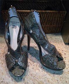 New Auth Alexandre Birman Green Multi Python Peep Toe Platform Pumps Shoes 10 | eBay