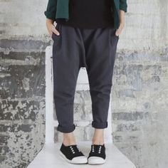 GL2004GY 2016/17 AW Trendy Girl's Fashion Casual Loose Jersey Pants