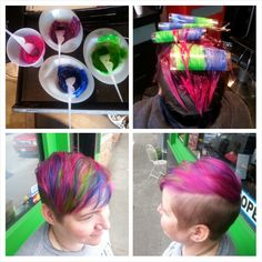 All the colors! Pink, blue, green and purple Locked In Pravana :D  Hair by Jen Cleroux from B-Bombshell Salon New Westminster, BC Where Geek is Chic!