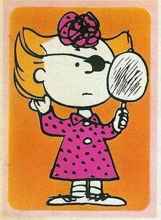 Sally Brown rocking an eye patch Linus Van Pelt, Charles Shultz, Sally Brown, Myasthenia Gravis, Snoopy Pictures, Peanuts Characters, Joe Cool, Charlie Brown And Snoopy, Hopscotch