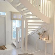 My Home Design, House Design, White Staircase, Cute Furniture, Scandinavian Home, White Houses, Other Rooms, Stairways, My Dream Home