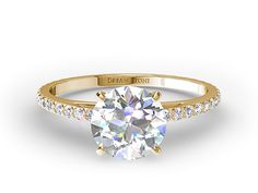 Pave Set Cathedral Diamond Engagement Ring In Yellow Gold