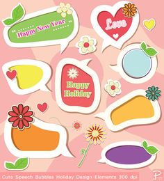 Happy New Year Colorful Speech Bubble clipart  by PoodeDesigns,
