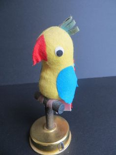 Vintage Parrot Sewing Pin Cushion with Tape Measure