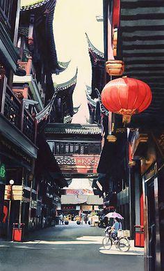 """""Shanghai Market"" Watercolor"" by Paul Jackson | Redbubble"