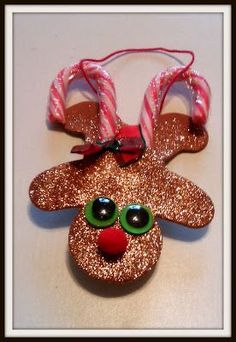 (Upside Down) Gingerbread Man Candy Cane Reindeer Ornament {Craft}