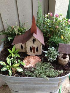 Fairy Garden, mini hostas by karla Fairy Garden Images, Mini Fairy Garden, Fairy Garden Houses, Gnome Garden, Hosta Gardens, Garden Terrarium, Succulent Terrarium, Little Gardens, Fairy Doors
