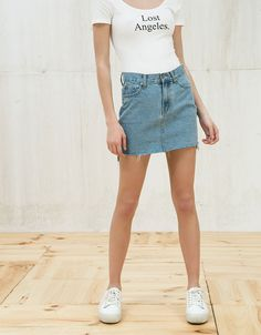 Discover this and many more items in Bershka with new products every week Festival Style, Blue Denim Skirt, Denim Skirts, Jeans Rock, My Wardrobe, Spring Outfits, Spring Summer, Casual, Clothes