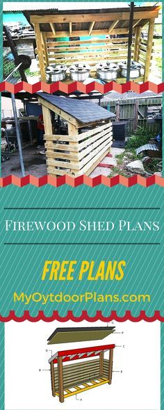 Free Firewood Shed Plans - Learn how to build a firewood shed if you have basic woodworking skills and 2x4 pressure treated lumber! myoutdoorplans.com #diy #shed