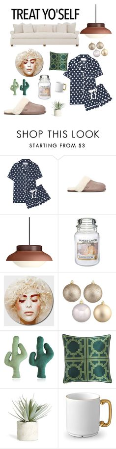 """Treat Yo'Self"" by clark-superwoman on Polyvore featuring interior, interiors, interior design, maison, home decor, interior decorating, Three J NYC, Gubi, Yankee Candle et Allstate Floral"