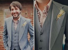 Feathers and wheat make an interesting boutonniere