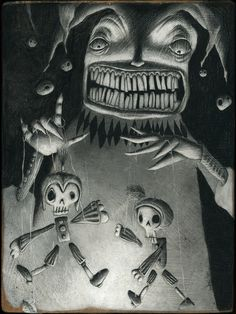 Charcoal on wood Funeral March, The Marionette, Puerto Rico, Charcoal, Joker, Drawings, Fictional Characters, Short Stories, The Joker