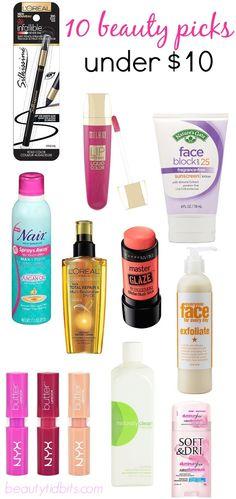 10 beauty picks under $10 via @BeautyTidbits