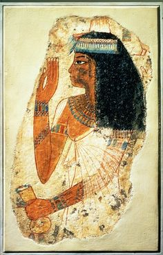 The Woman Tjepu, from Thebes, Tomb 181, New Kingdom. Tjepu was a noblewoman about forty years old when this painting was executed, but she is shown in what was the height of youthful fashion during the reign of Amunhotep III: a perfumed cone on her heavy wig, a delicate side tress, and a semitransparent, fringed linen dress.