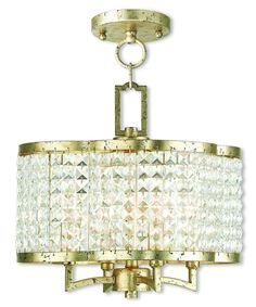 Livex Lighting Grammercy Hand Applied Winter Gold Convertible Mini Chandelier/Ceiling Mount 50574-28