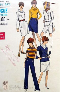 Mod Jacket, Funnel Neck Dress, Blouse, Skirt, Pants and Walking Shorts Pattern Fantastic Styles Vogue 7291 Bust Blouse And Skirt, Blouse Dress, Skirt Pants, Mod Jacket, Sailor Pants, Dress Making Patterns, Straight Dress, Double Breasted Jacket, Vogue Patterns