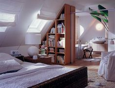 attic wall partition bookshelves