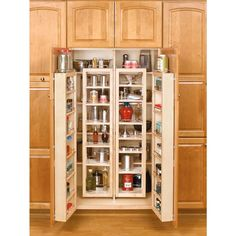 57 in. H x 12 in. W x 8 in. D Wood Swing-Out Cabinet Pantry Organizer Kit, Light Brown Wood
