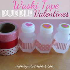 These Washi Tape Bubble Valentines took just minutes for my girls to make (50 total!) for their classes. Cheap, too!