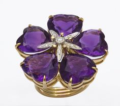 Michael Kanners Amethyst Flower Ring
