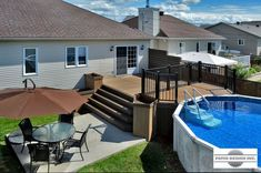 Nothing goes better with a pool than a patio built by Patio Design inc. Patio bring vacations life to your decor and improve your comfort. Pool Deck Plans, Patio Plans, Above Ground Pool Decks, In Ground Pools, Oberirdischer Pool, Swimming Pools, Patio Deck Designs, Patio Design, Pergola Patio