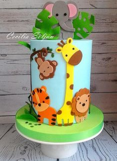 Jungle Animals Cake - Kuchen von Cecilia Solján, Best Picture For Birthday Cake kids For Your Taste You are looking for something, and it is going to tell you e Jungle Birthday Cakes, Boys 1st Birthday Cake, Animal Birthday Cakes, Lion Birthday, Jungle Theme Cakes, Jungle Safari Cake, Jungle Cupcakes, Safari Party, Safari Theme