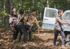 """Rick Grimes (Andrew Lincoln), Tyreese (Chad L. Coleman), Michonne (Dania Gurira), Noah (Tyler James Williams) and Glenn Rhee (Steven Yeun) in Episode 509, """"What Happened and What's Going On"""""""