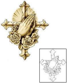 Praying Hands Tattoos J0F-00238 Created by Jackie Rabbit
