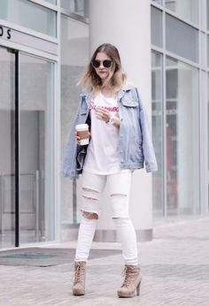 Outfit with jeans of the brand Bershka, t-shirts of the brand Creme de la creme, and Lupsona's jackets