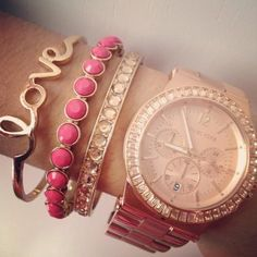Gold accessories - love the bracelets, the watch not so much.