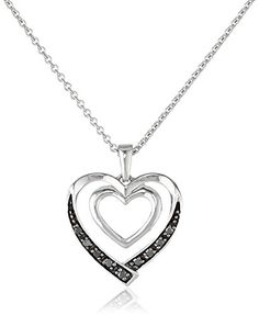 Sterling Silver Black Diamond Accent Heart Pendant Necklace 18 >>> Read more  at the image link.