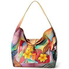 Anuschka Hand-Painted Leather Fold Over Slouch Bag. Pinned from. shopnbc.com