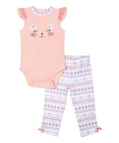 Look at this Peach Cat Angel-Sleeve Bodysuit & Geometric Leggings - Infant on #zulily today!
