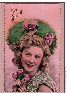 Carte postale Bonne fête de Sainte Ste Catherine girl verte !