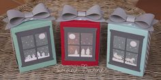 Christmas scene luminaries using Stampin' Up! products - Hearth & Home thinlits, Sleigh Ride edgelits & Gift Bag Punch Board. By Di Barnes #colourmehappy #2015holidaycatalogue