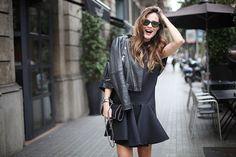 December fashion inspiration - Black cool outfit : dress + leather perfecto