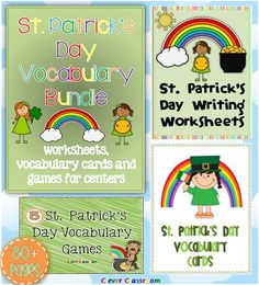 St. Patrick's Day Vocabulary Bundle Worksheets Cards and Games 3 resources in one file.    Your St. Patrick's Day center work for March is ready to go with these games, vocabulary cards and worksheets for Kindergarten and grade one.    Three of my top St. Patrick's Day resources in one bundle ready to download! Please see the preview file for a closer look. $ http://www.teacherspayteachers.com/Product/St-Patricks-Day-Vocabulary-Bundle-Worksheets-Cards-and-Games-80-pages