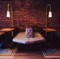 Client: Maison Social / Location: St. Laurent, Mile End, Montreal / Year: 2014 / [ restaurant, commercial design, social club, cafe, bar, radio station, dj, music, live, wes anderson, grand budapest hotel, inspiration, retro, throwback, vintage, custom, furniture, interior design, hipster, cool, banquette, diner, light fixtures, painted floor, rug, faux, tufted, leather, brick wall ]