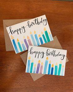 Graduation Cards Handmade, Handmade Birthday Cards, Greeting Cards Handmade, Diy Birthday, Birthday Wishes, Watercolor Birthday Cards, Birthday Card Drawing, Happy Birthday Hand Lettering, Washi Tape Cards