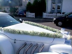 car decoration Wedding Arrangements, Flower Arrangements, Wedding Cars, Wedding Ideas, Flower Car, Gypsophila, Baby's Breath, Carnations, Wedding Flowers