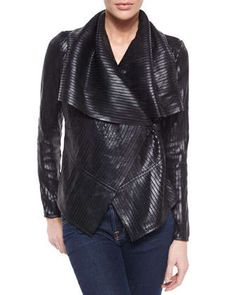 Striped+Lambskin+Off-Center+Jacket,+Black+by+Bagatelle+at+Neiman+Marcus.