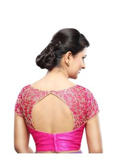 Designer Pink Net Back Open Ready-made Saree Blouse Choli SNT Exquisite high neck blouse with zari embroidered net at the neck and sleeves and a perfect pattern cut neckline. Would bring a cl Netted Blouse Designs, Saree Blouse Neck Designs, Saree Blouse Patterns, Designer Blouse Patterns, Bridal Blouse Designs, Boat Neck Saree Blouse, Kurti Neck, Sari Bluse, Blouse Models