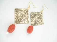Hammered Bronze Sponze Coral Earrings Contemporary Metalwork