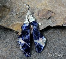African sodalite sterling silver wire wrapped earrings