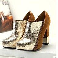 Stövlar ( Svart/Guld ) - till KVINNOR - Tossor / kängor - med Chunky klack - Platå/Rundtå/Fashion Boots - i Läder/Sammet