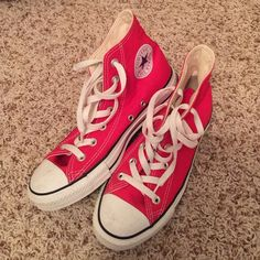 Converse Chuck Taylor All Star High Tops EUC!! Only worn a couple of times. Red/white. Size 7, run big. These fit me comfortably and I'm a size 8. Few scuffs on the toes, should come out with a magic eraser easy. Very small black mark on the right outer heel, pictured. Converse Shoes Sneakers