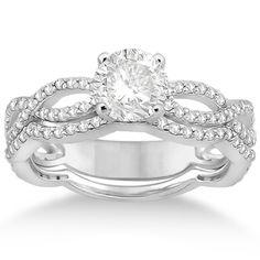 Infinity Diamond Engagement Ring with Band 14k White Gold (0.65ct)-Allurez.com