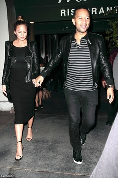 So sweet: They're expecting their first child together and Chrissy Teigen and husband John Legend looked the picture of happiness as they headed out to dine at Madeo restaurant in Hollywood on Saturday